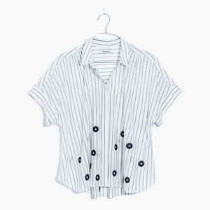 Madewell Flower Embroidered Stripe Hilltop Shirt M